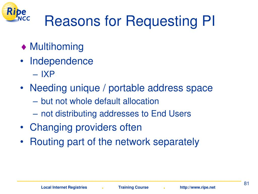 Reasons for Requesting PI