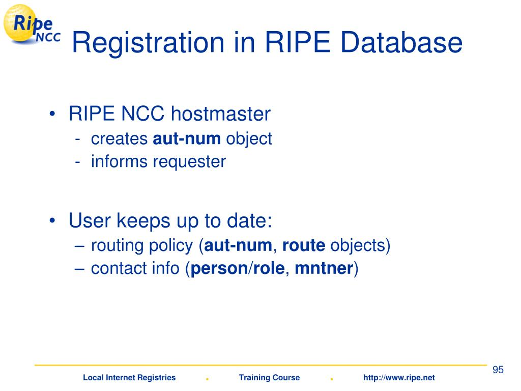 Registration in RIPE Database