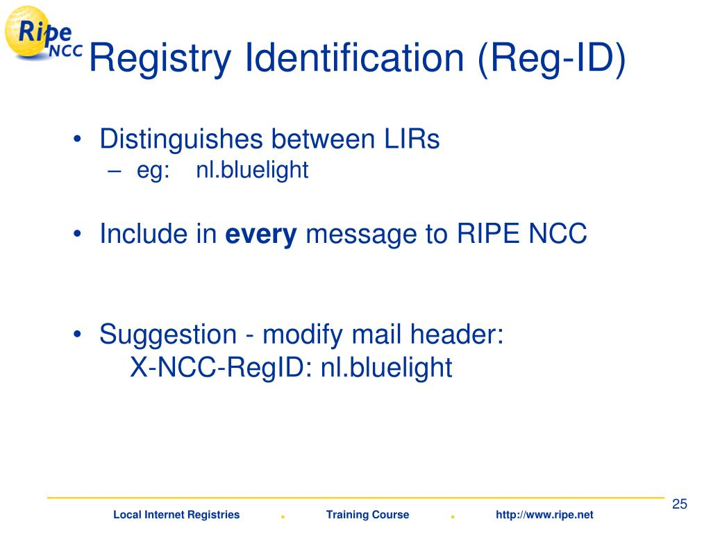 Registry Identification (Reg-ID)