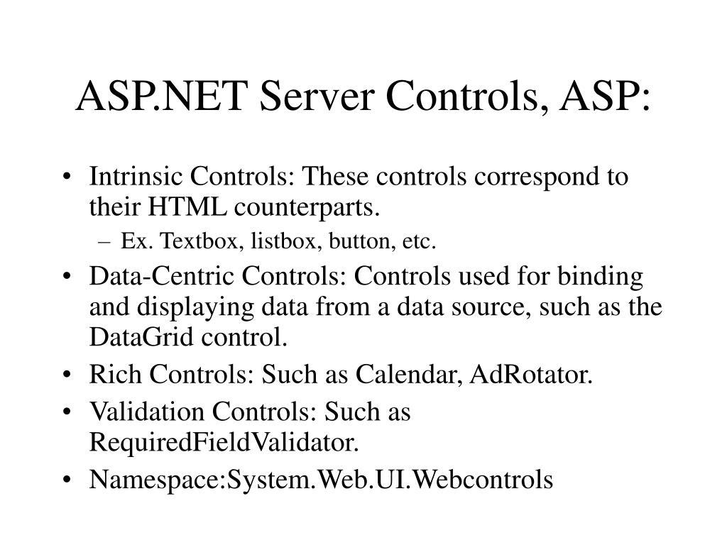 ASP.NET Server Controls, ASP: