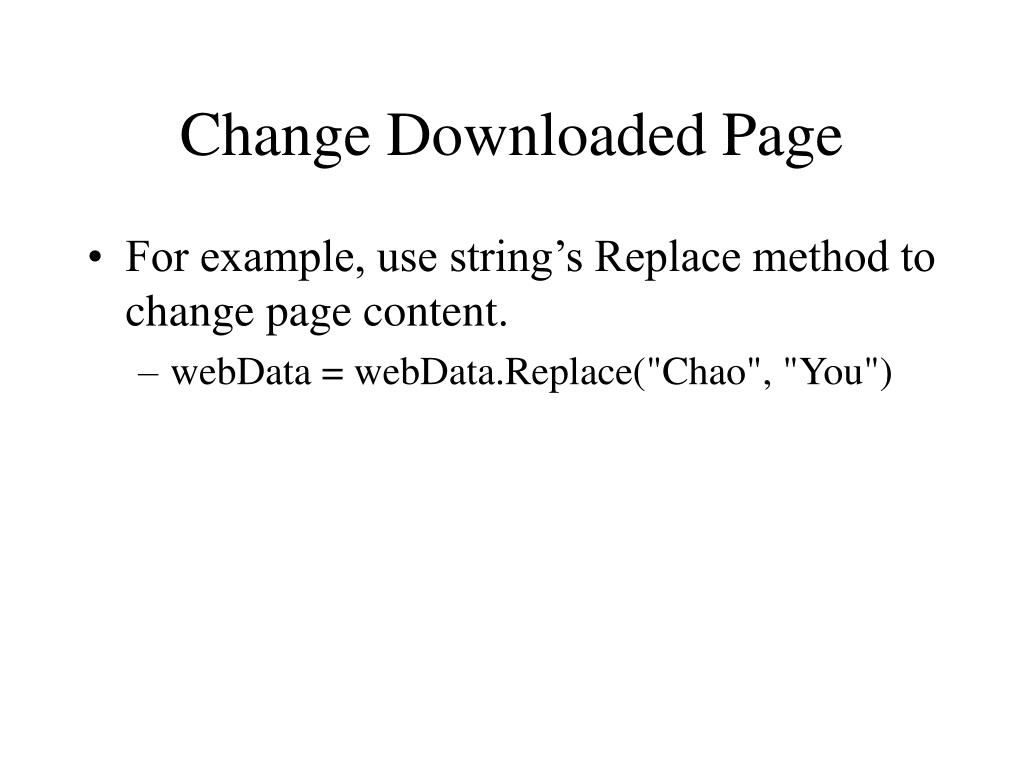 Change Downloaded Page