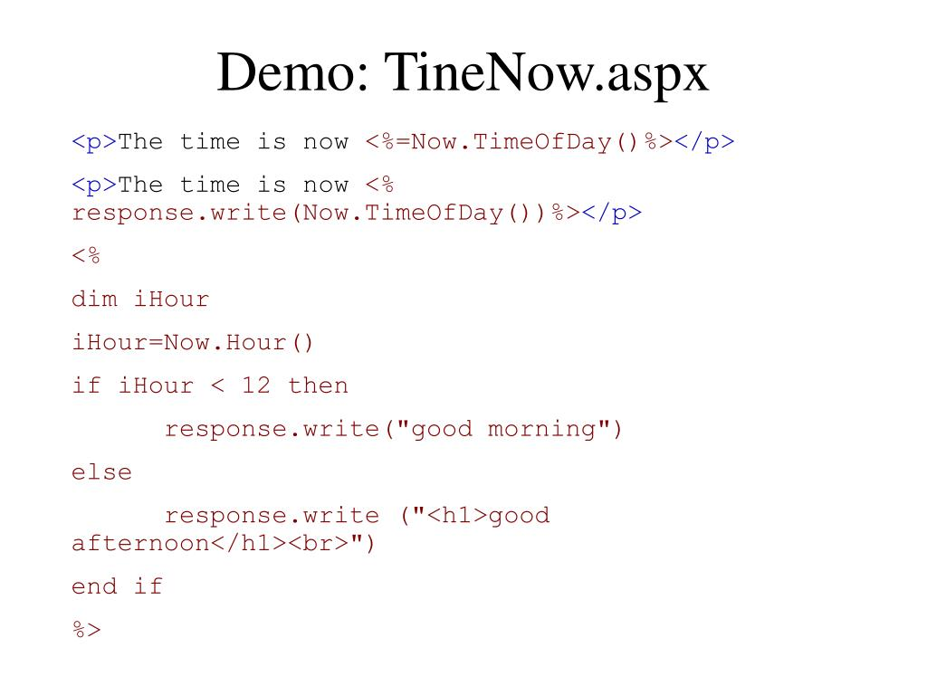Demo: TineNow.aspx