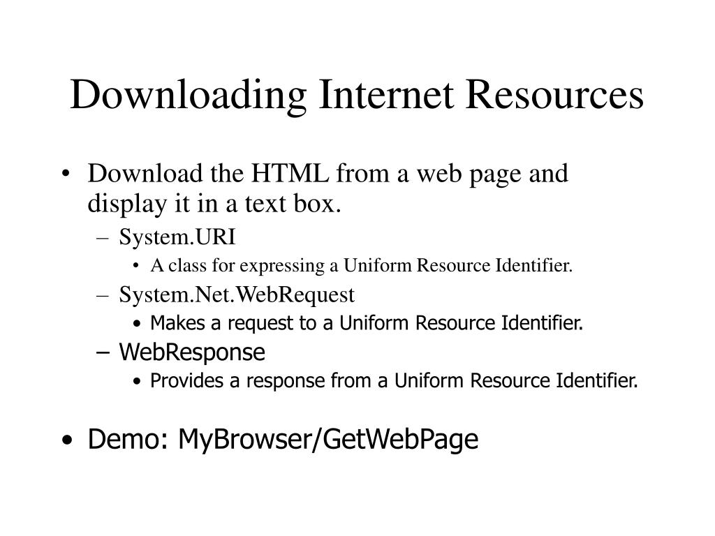 Downloading Internet Resources