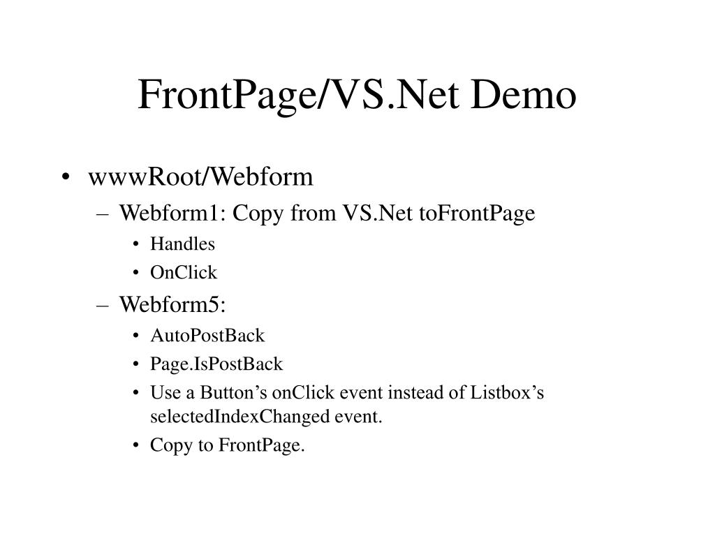 FrontPage/VS.Net Demo