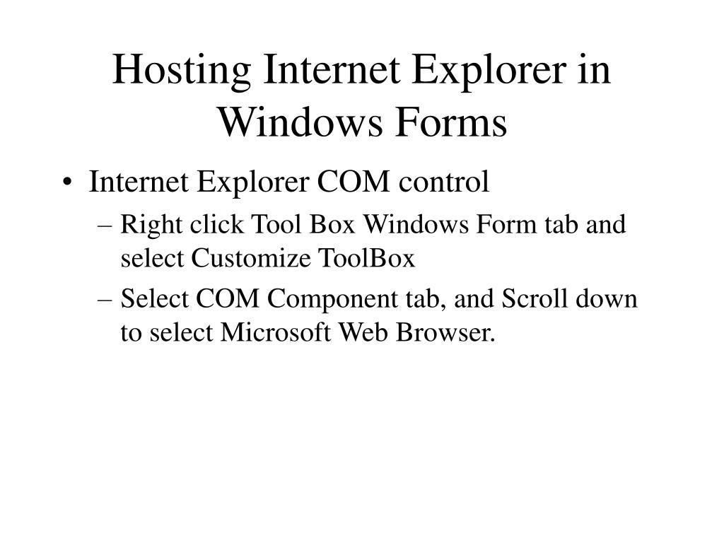 Hosting Internet Explorer in Windows Forms