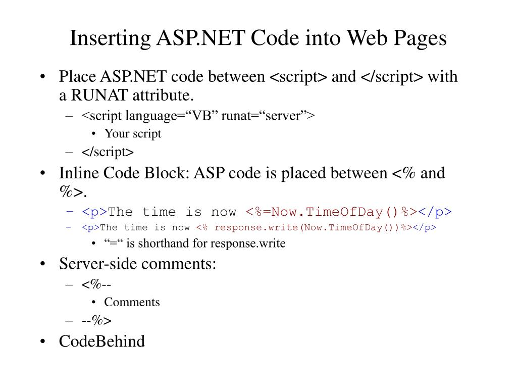 Inserting ASP.NET Code into Web Pages