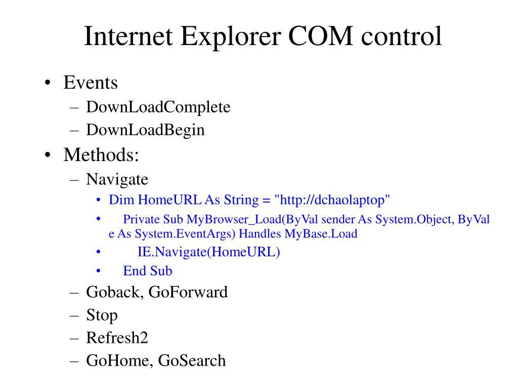 Internet Explorer COM control