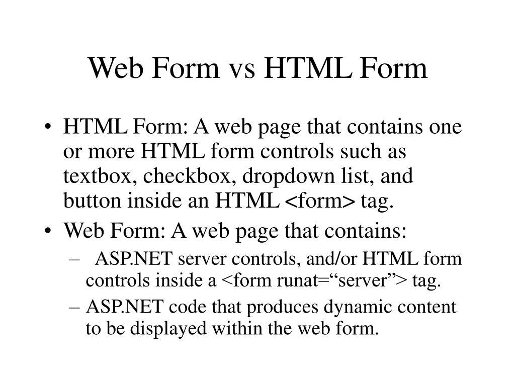Web Form vs HTML Form