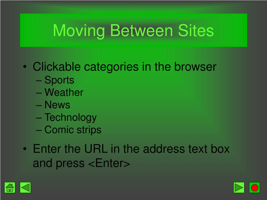 Moving Between Sites