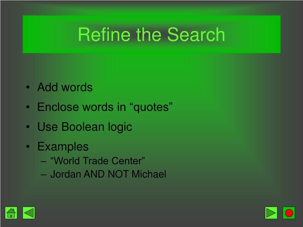 Refine the Search