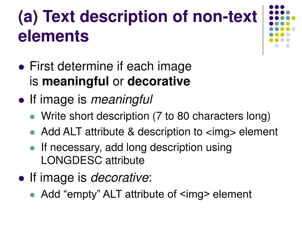 (a) Text description of non-text elements