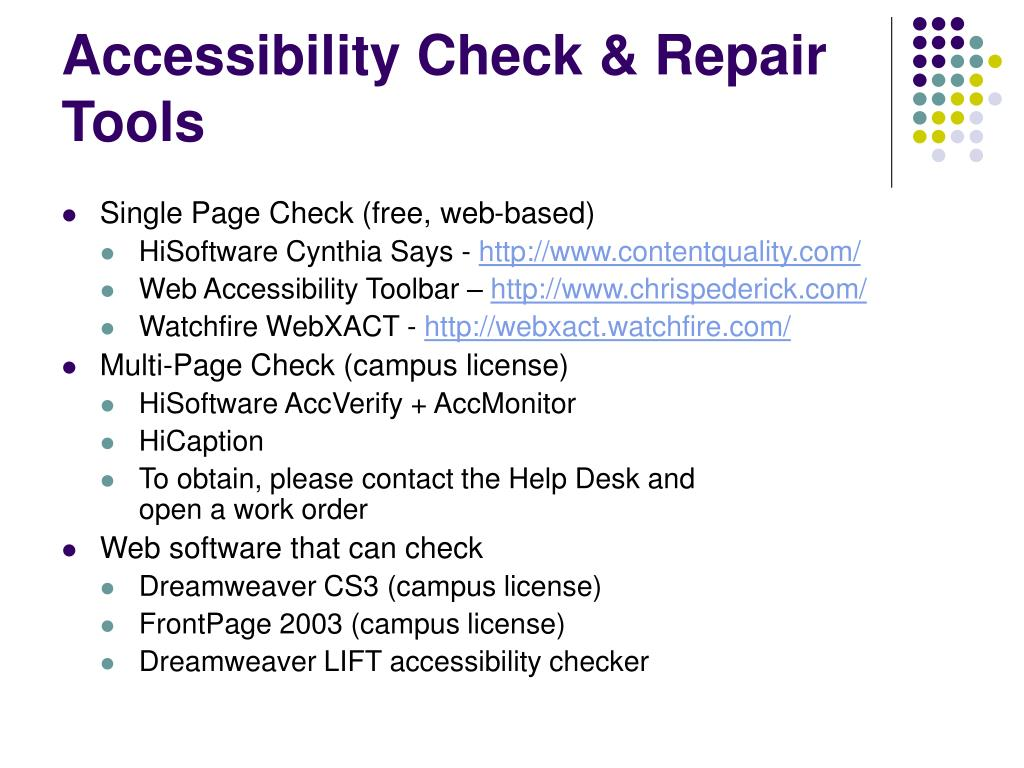 Accessibility Check & Repair Tools