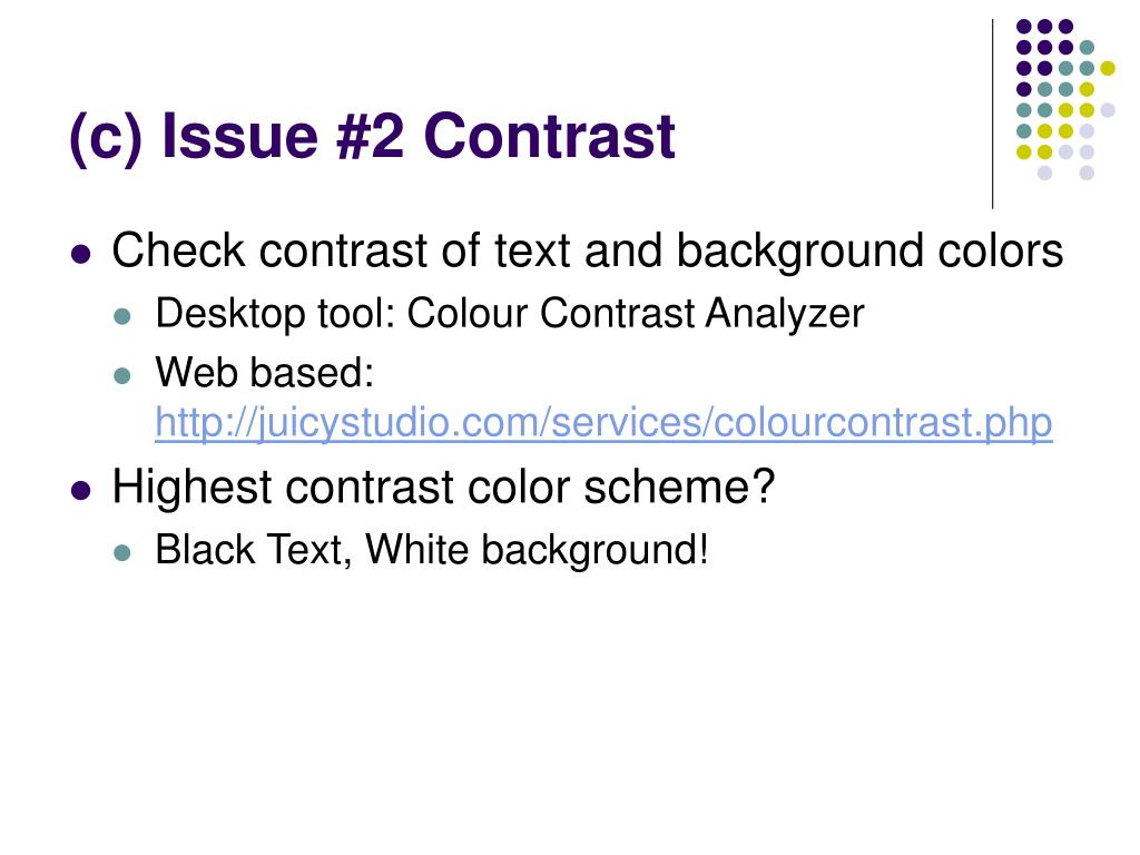 (c) Issue #2 Contrast