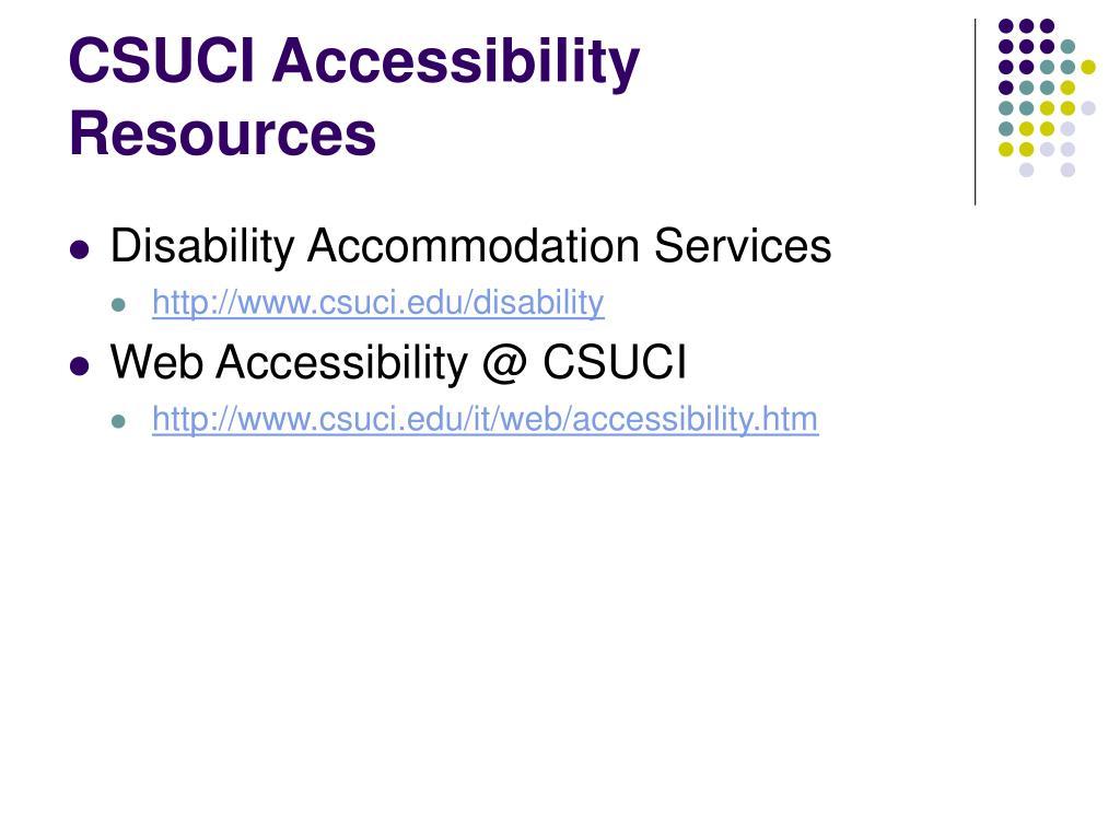 CSUCI Accessibility Resources