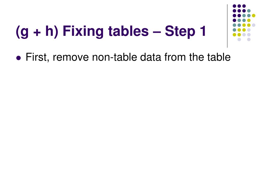 (g + h) Fixing tables – Step 1