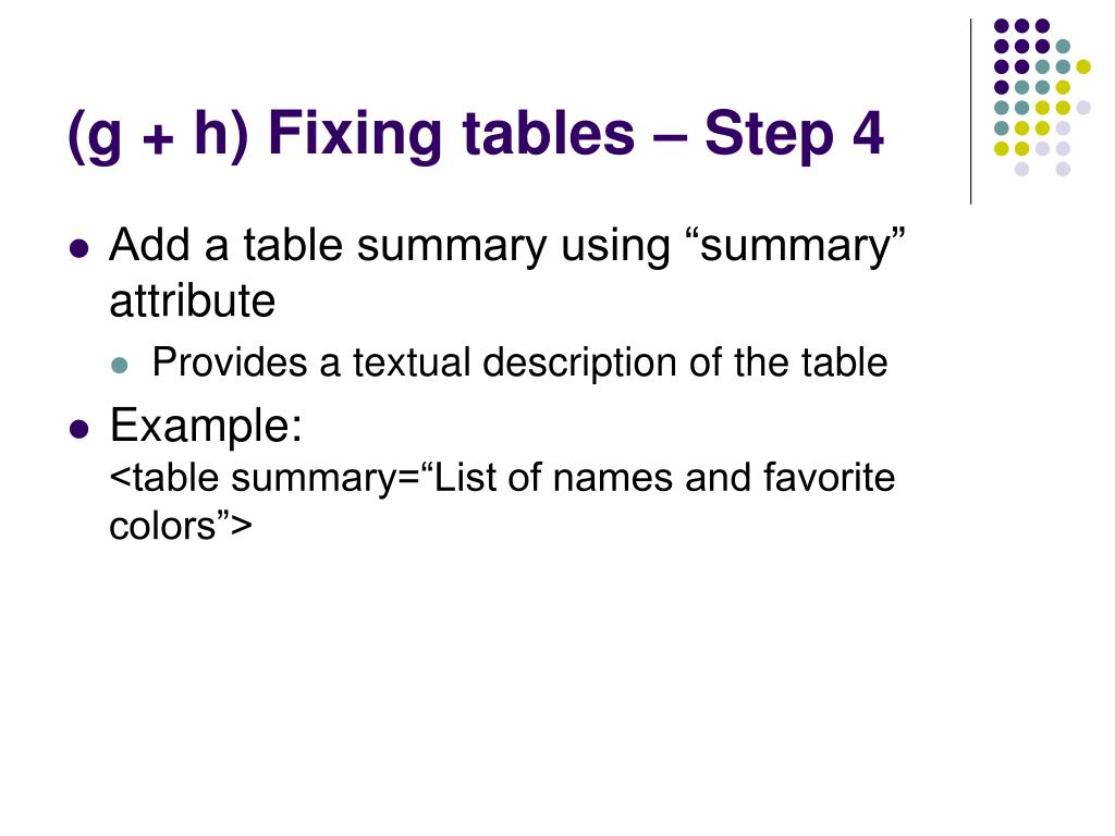 (g + h) Fixing tables – Step 4