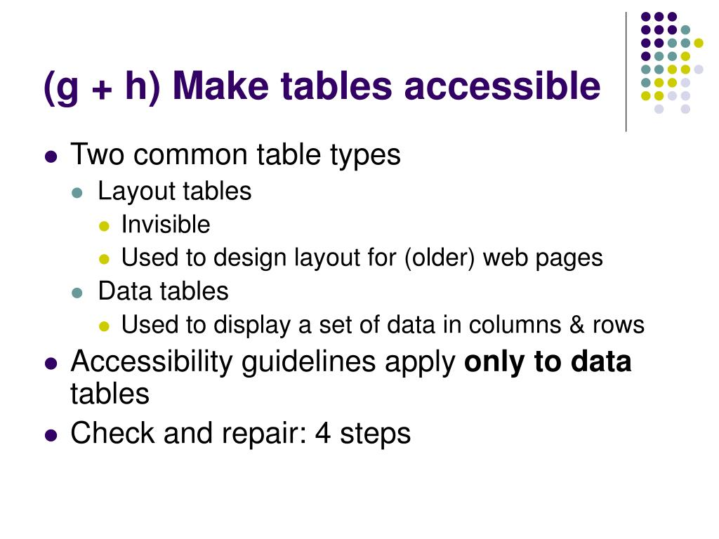 (g + h) Make tables accessible
