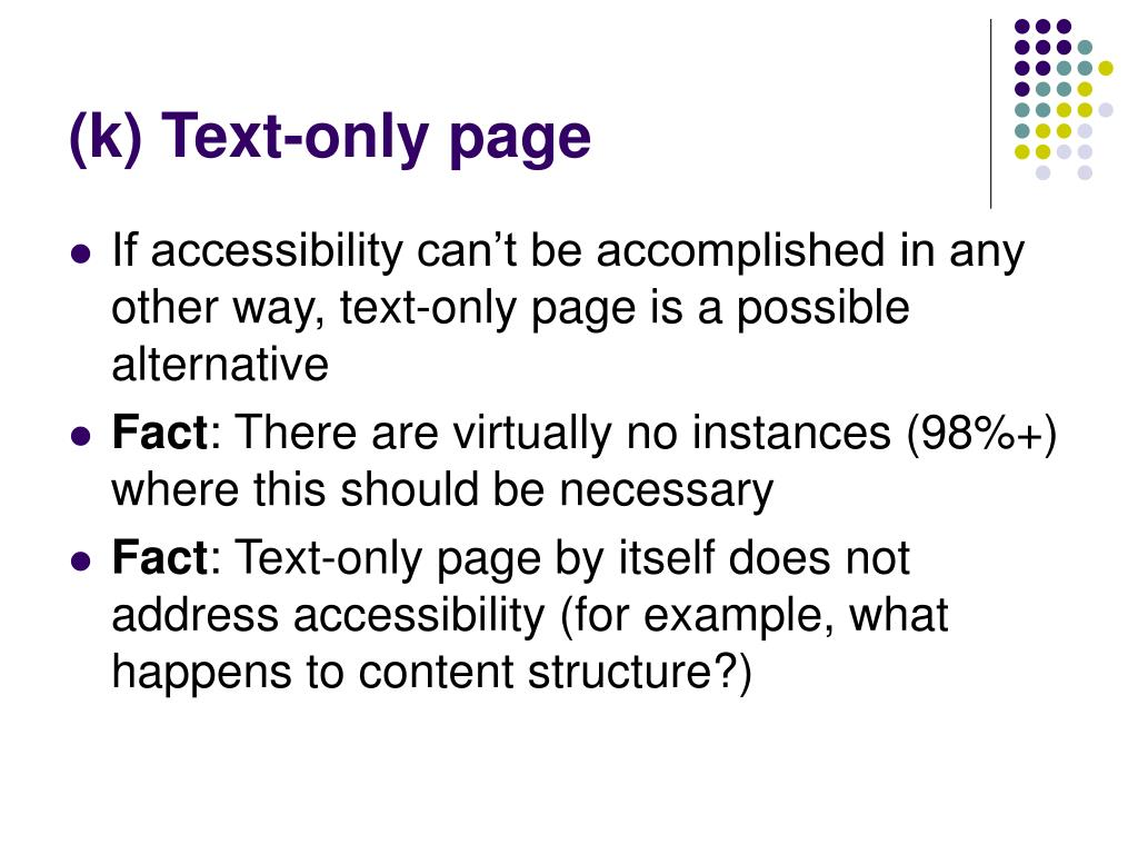 (k) Text-only page