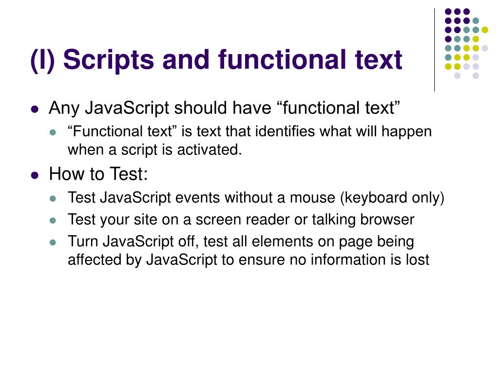 (l) Scripts and functional text