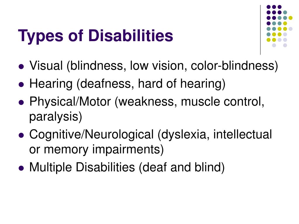 Types of Disabilities