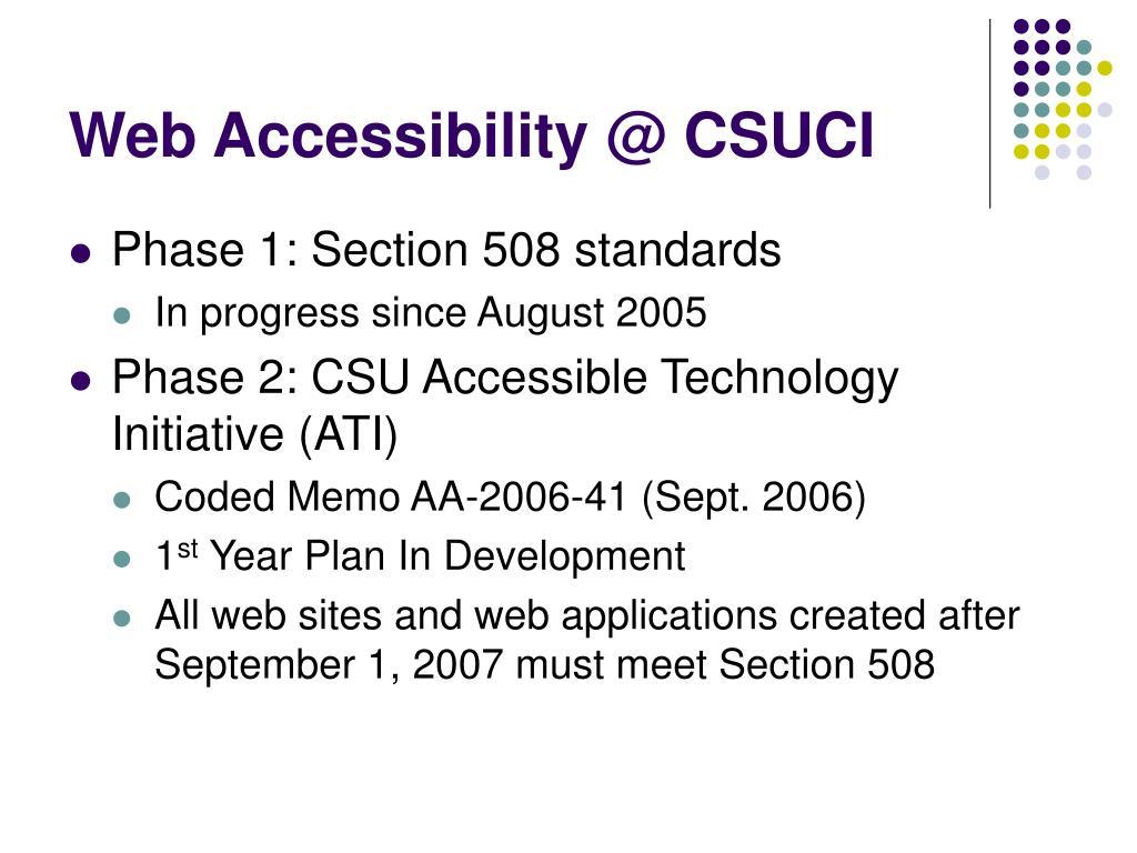 Web Accessibility @ CSUCI