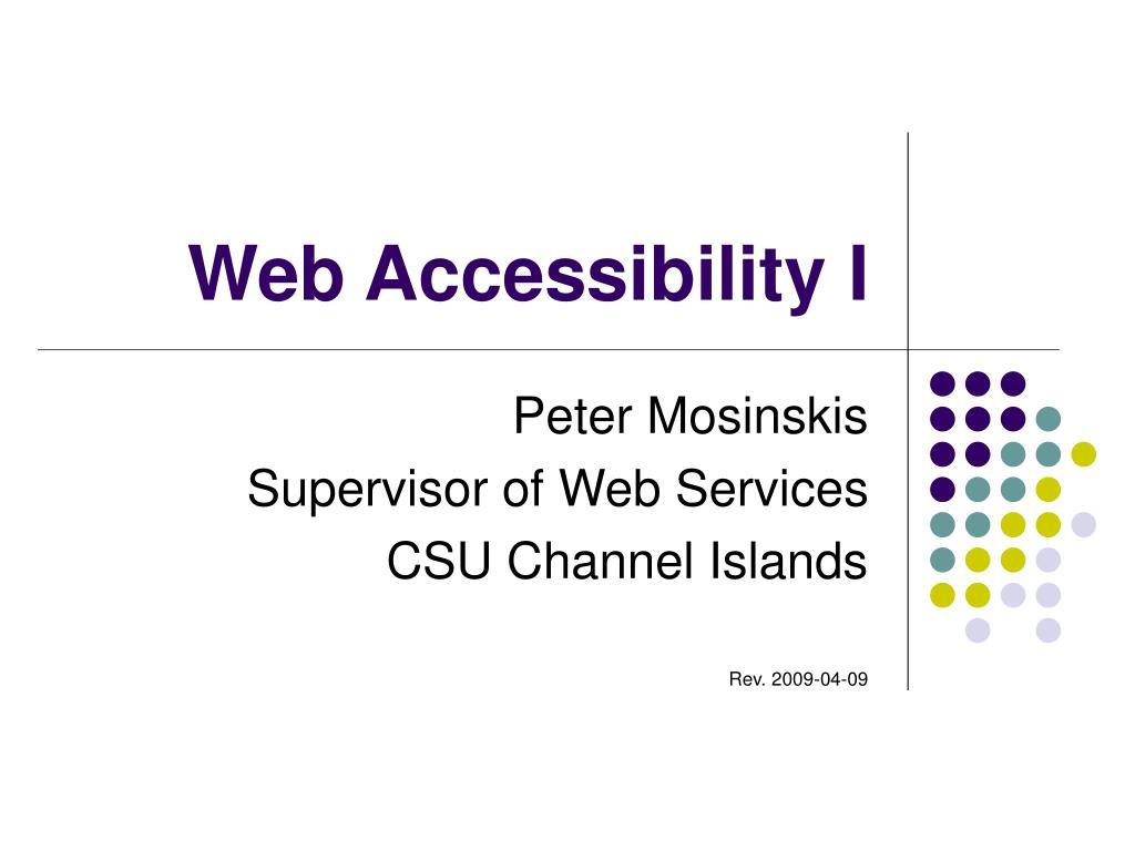 Web Accessibility I