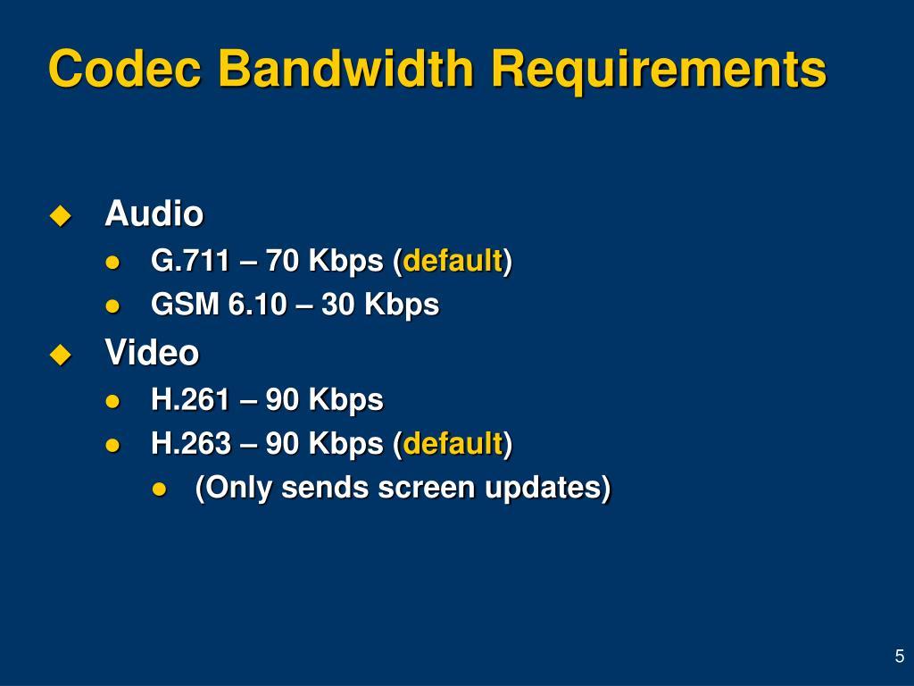 Codec Bandwidth Requirements