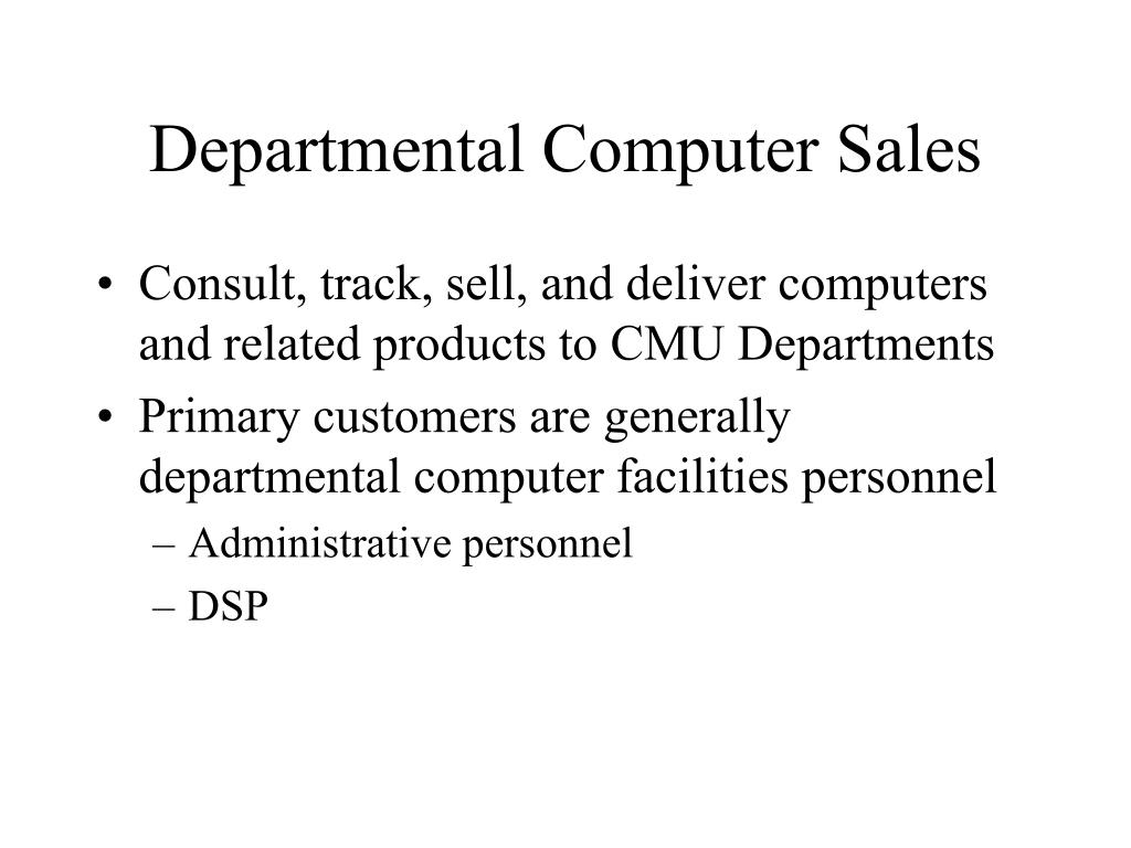 Departmental Computer Sales