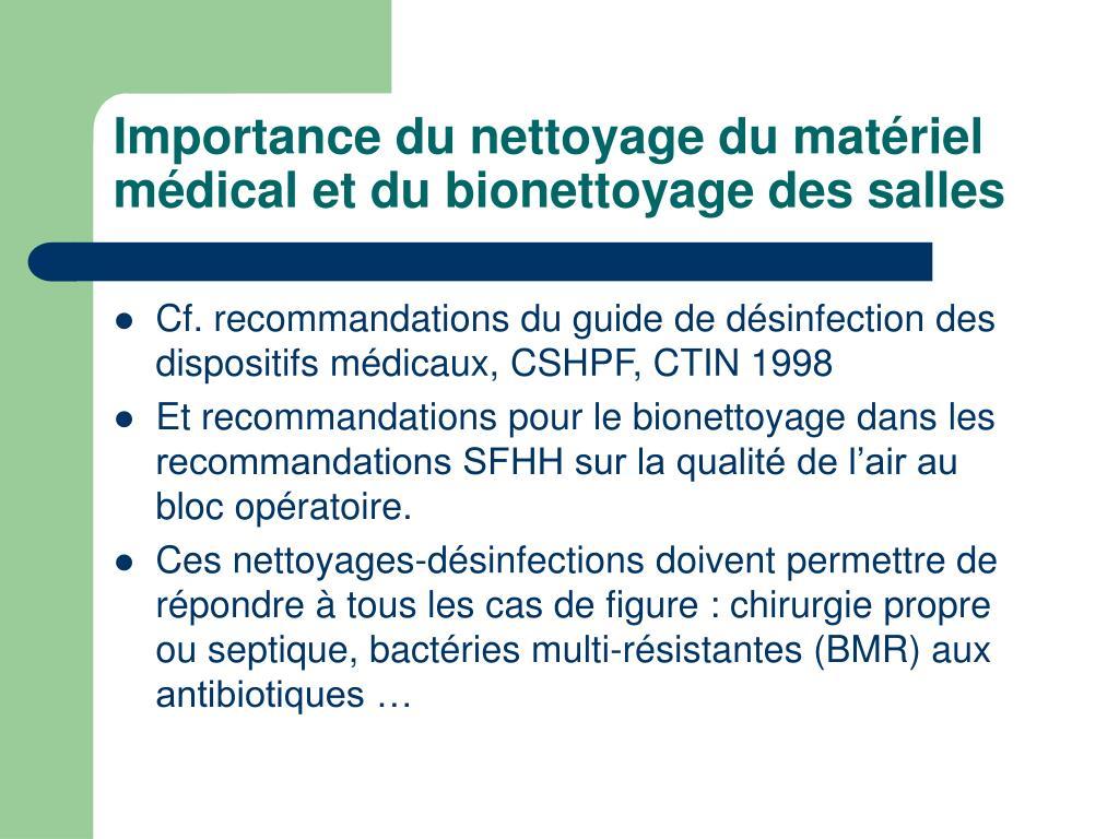 Importance du nettoyage du matériel médical et du bionettoyage des salles