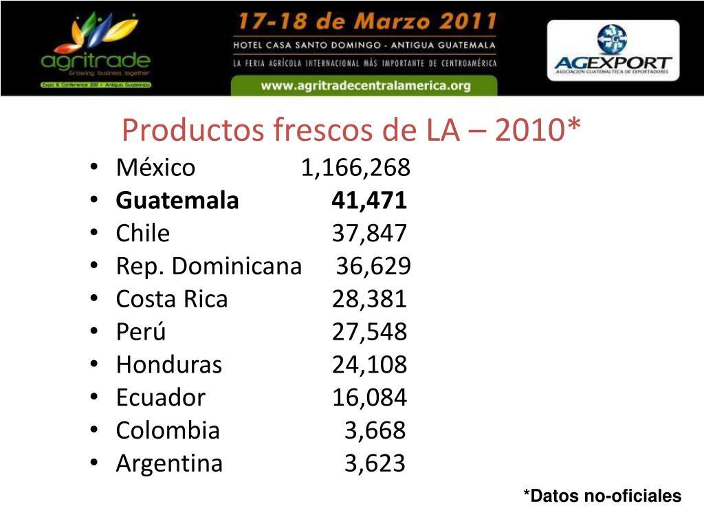 Productos frescos de LA – 2010*