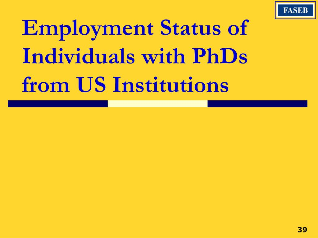 Employment Status of Individuals with PhDs from US Institutions