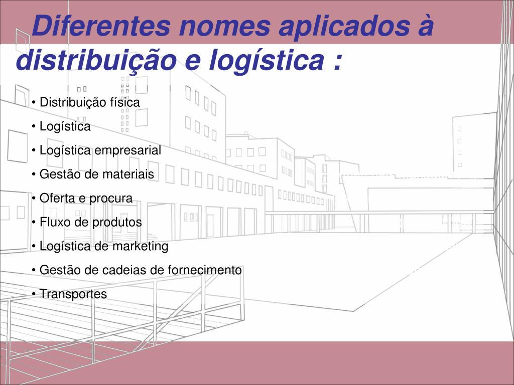 Diferentes nomes aplicados à distribuição e logística :