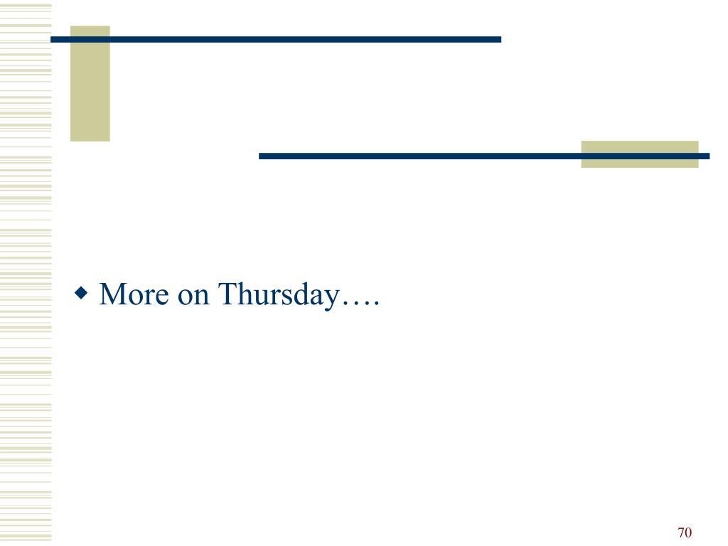 More on Thursday….