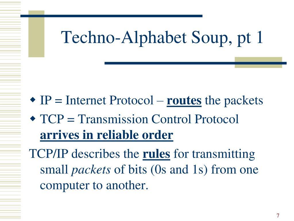 Techno-Alphabet Soup, pt 1