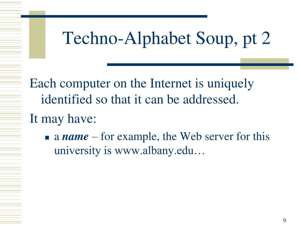 Techno-Alphabet Soup, pt 2