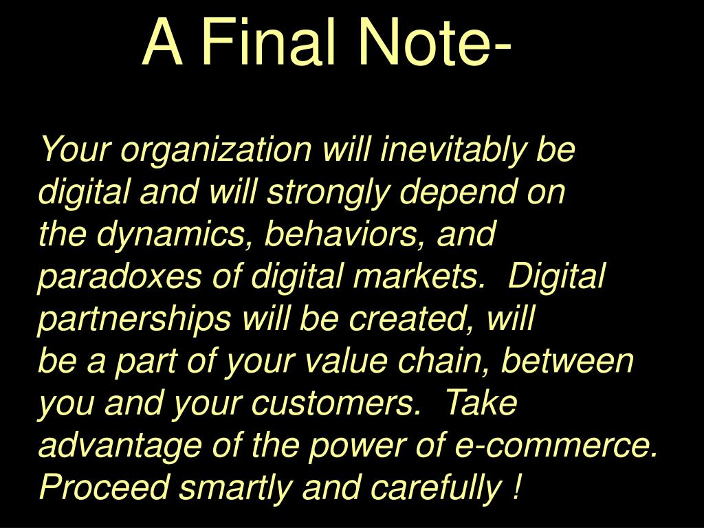 A Final Note-