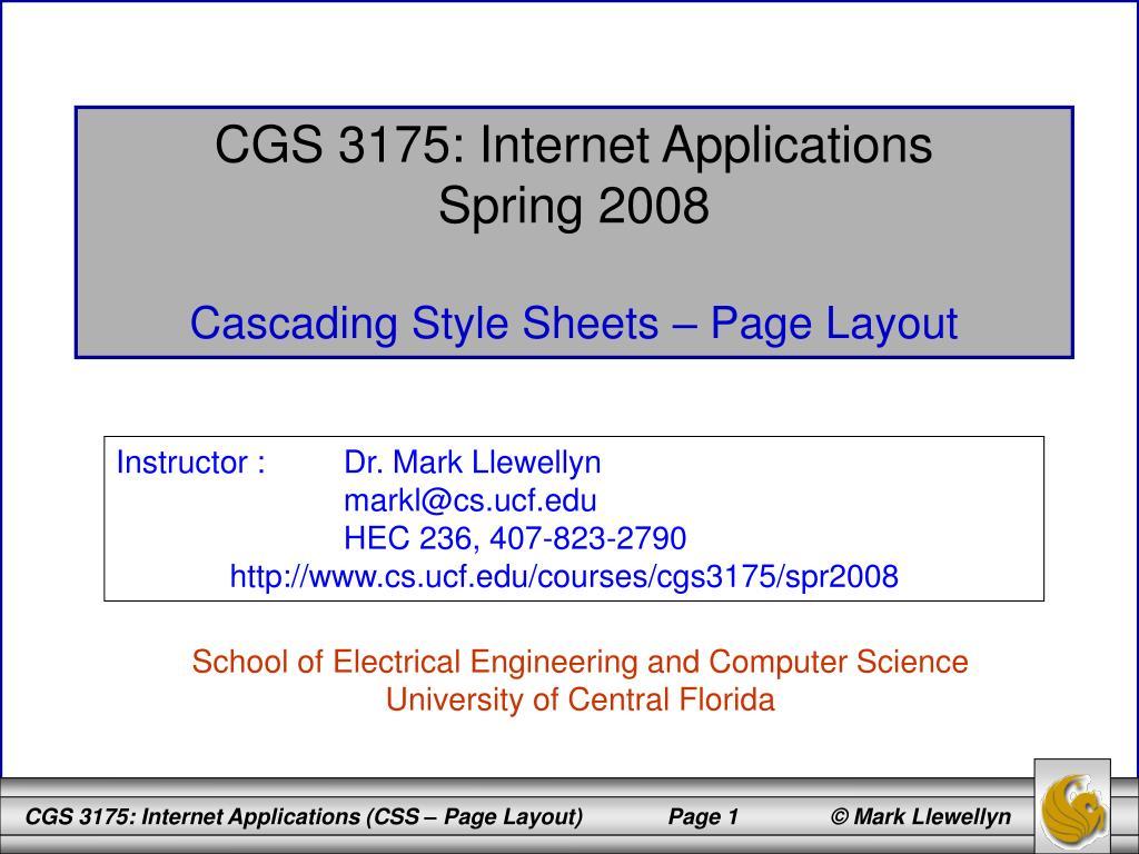 CGS 3175: Internet Applications