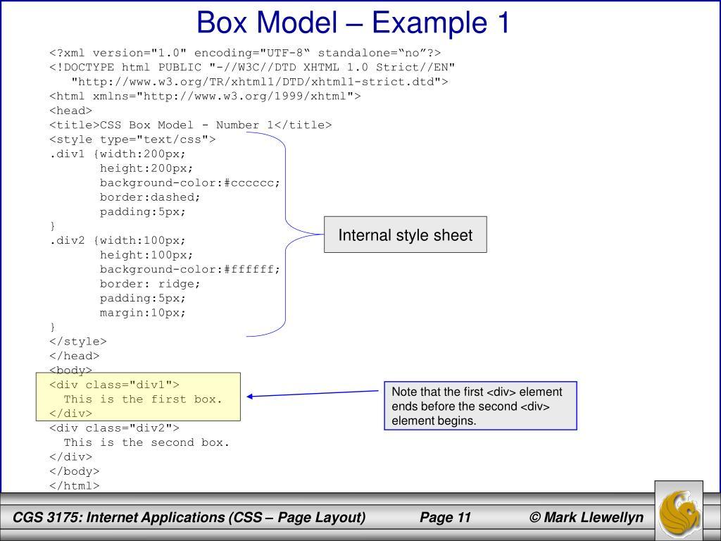 Box Model – Example 1