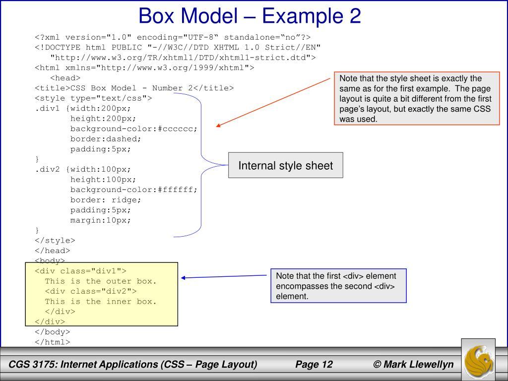 Box Model – Example 2