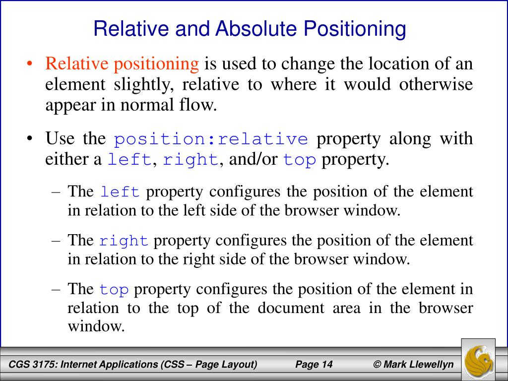Relative and Absolute Positioning