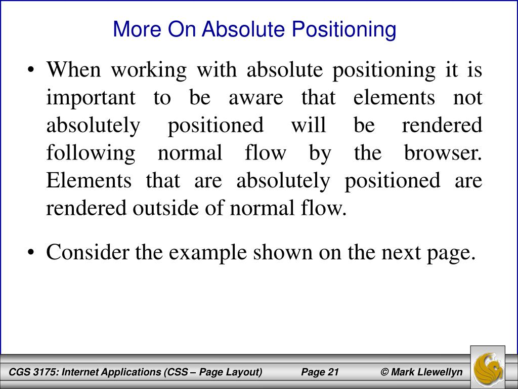 More On Absolute Positioning