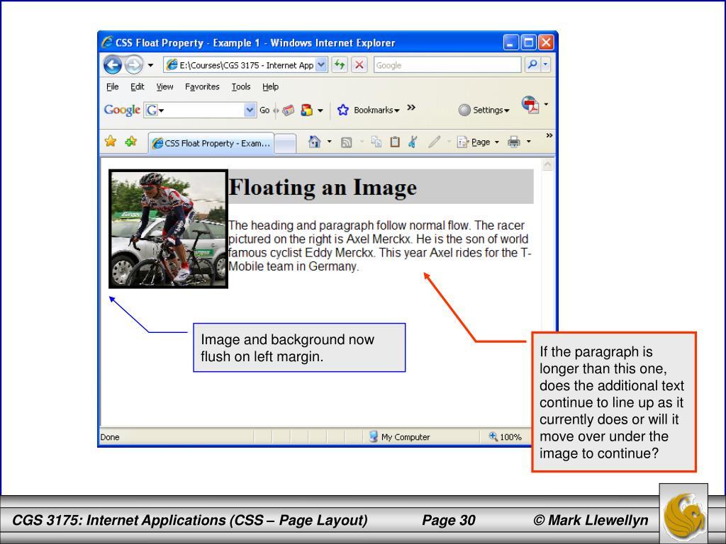 Image and background now flush on left margin.