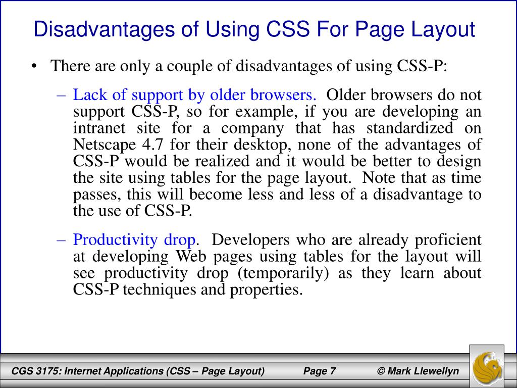 Disadvantages of Using CSS For Page Layout