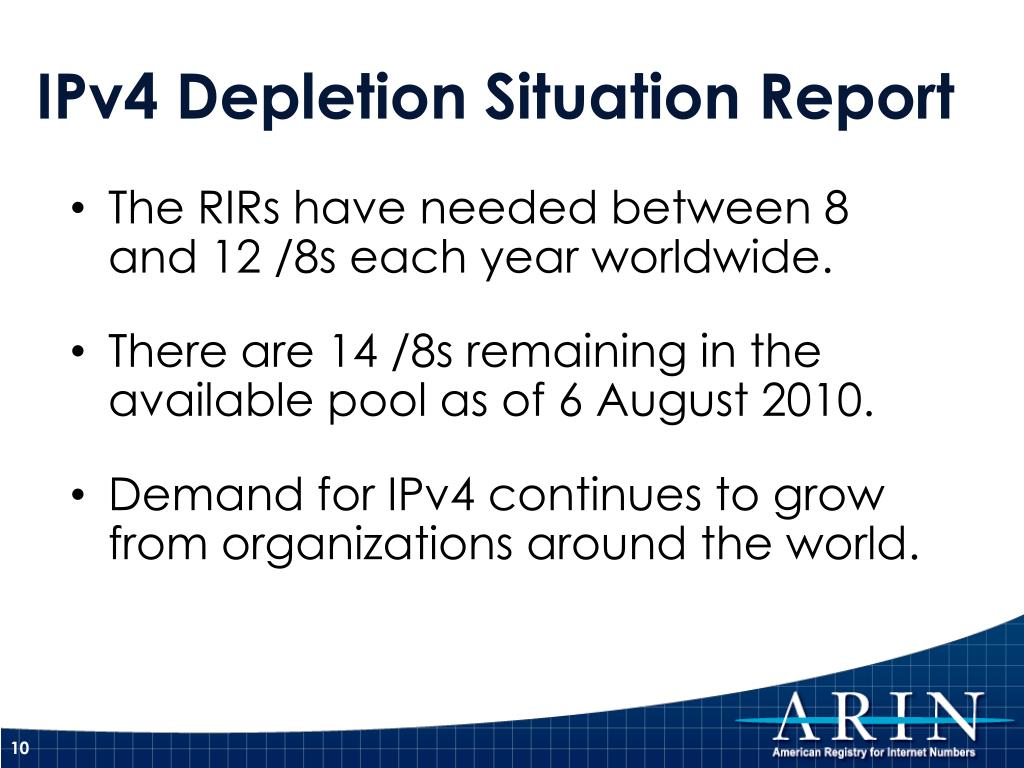 The RIRs have needed between 8 and 12 /8s each year worldwide.
