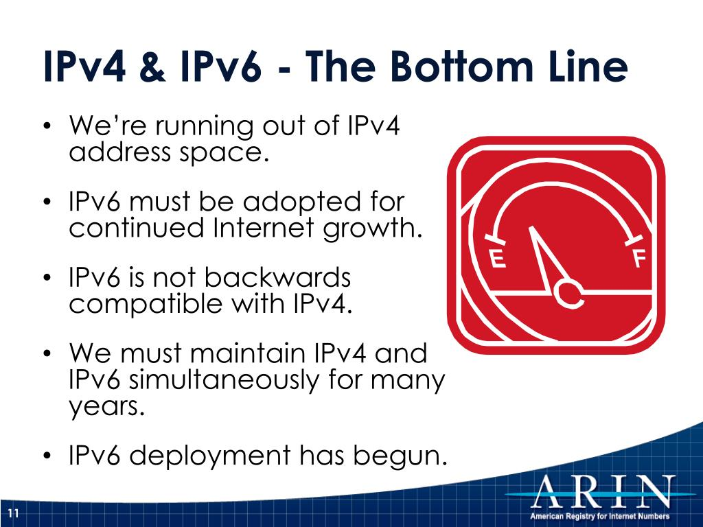 We're running out of IPv4 address space.