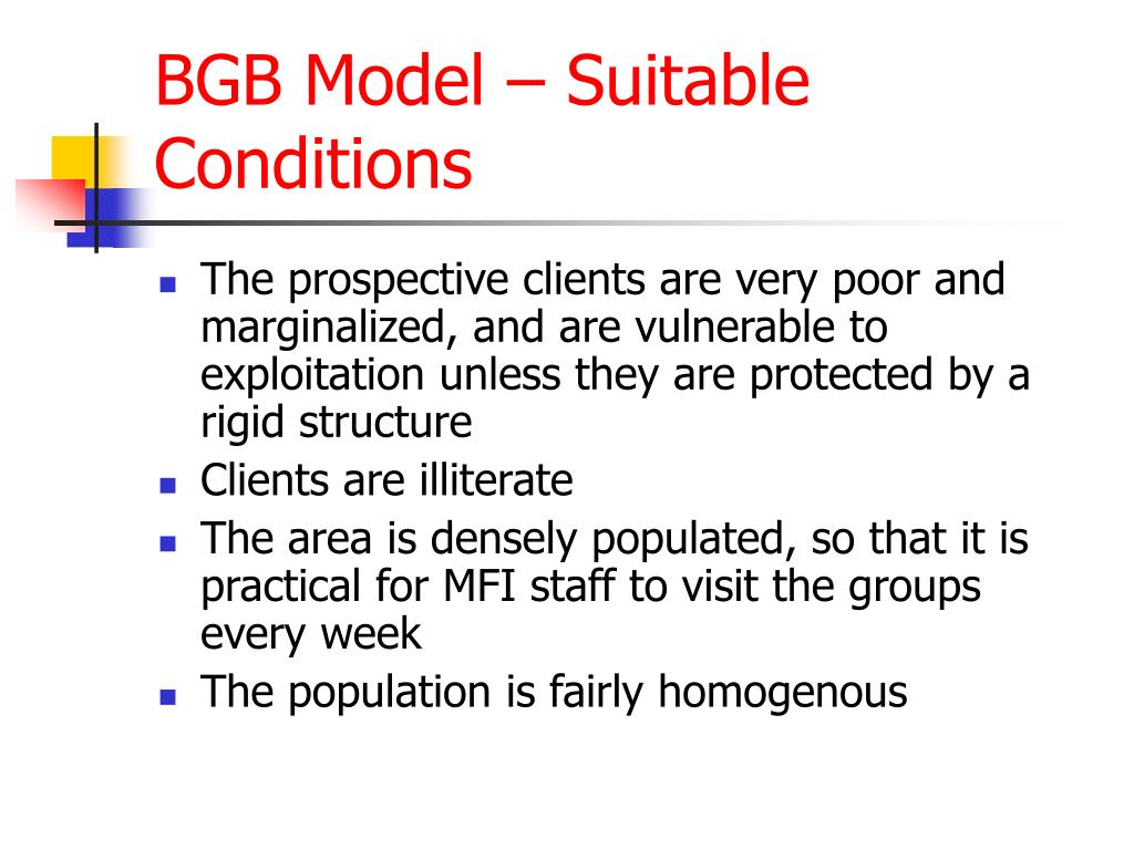 BGB Model – Suitable Conditions