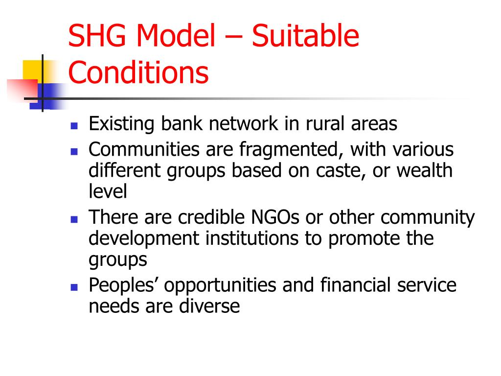 SHG Model – Suitable Conditions