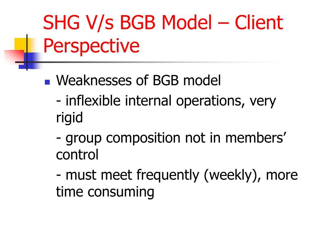 SHG V/s BGB Model – Client Perspective