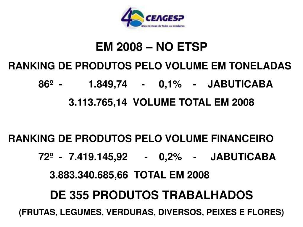 EM 2008 – NO ETSP
