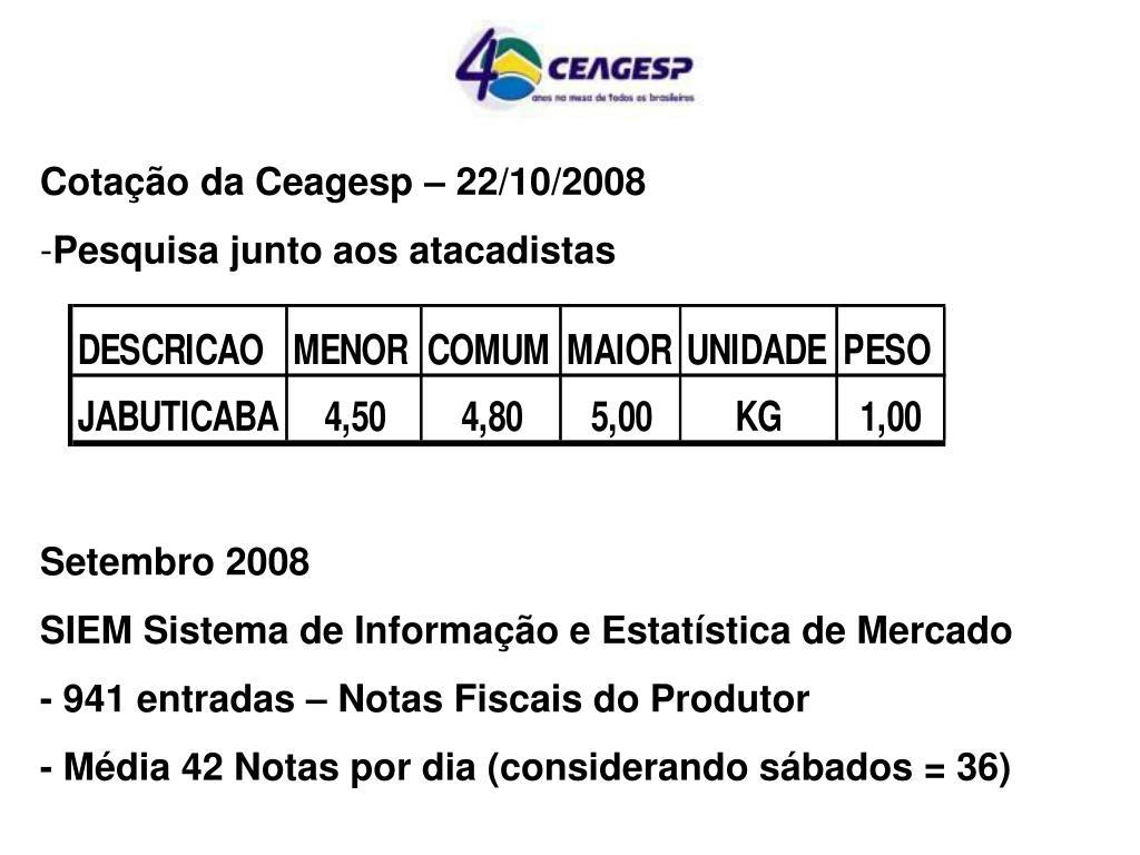 Cotação da Ceagesp – 22/10/2008